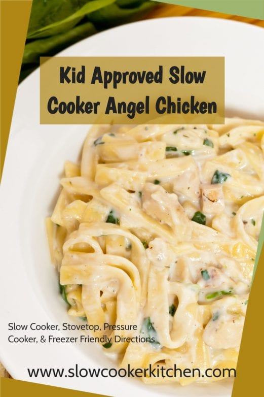 Amazingly easy, super tasty angel chicken in the crock pot! With slow cooker, skillet, pressure cooker, & freeze ahead directions!
