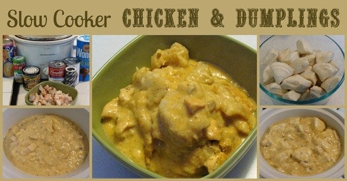 Slow Cooker Chicken & Dumplings. Find this and more delicious crockpot recipes @ https://www.slowcookerkitchen.com