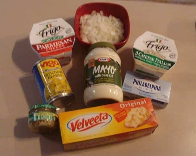 Crockpot Artichoke Dip ingredients