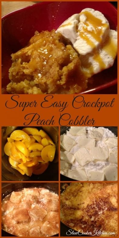 Easy Peach Cobbler Recipe! Find this & more @ https://www.slowcookerkitchen.com