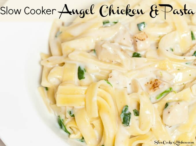 Slow Cooker Angel Chicken Pasta! Visit us @ https://www.slowcookerkitchen.com