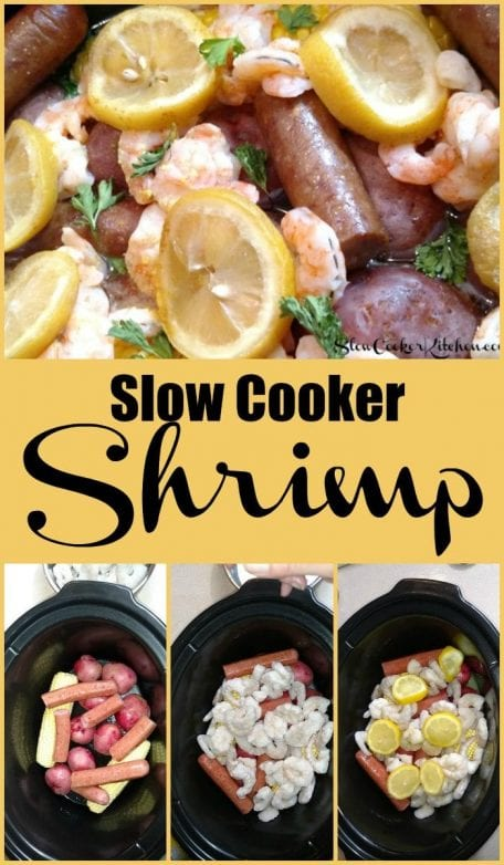 Slow Cooker Shrimp and Sausage Dinner! Find this & more yummies @ https://www.slowcookerkitchen.com