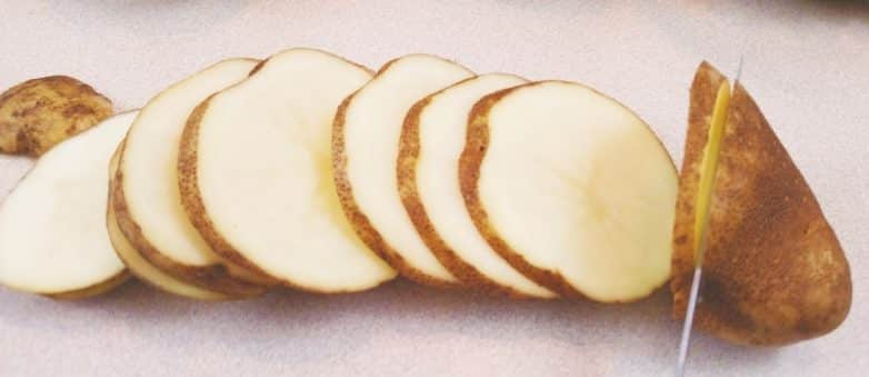 Sliced Potatoes for Crock Pot Sausage Dinner