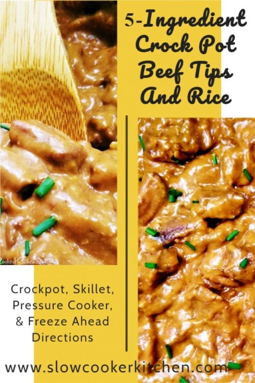 Deliciously simple, cheap and easy beef tips! With slow cooker, skillet, pressure cooker, & freezer meal directions!