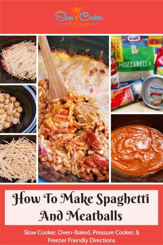 Quick and simple, super tasty baked spaghetti and meatballs! With crockpot, oven-baked, pressure cooker, & freeze ahead directions!
