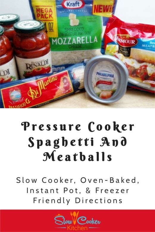 Amazingly simple, super tasty recipe for baked spaghetti and meatballs! With crockpot, oven-baked, pressure cooker, & freezer friendly directions!