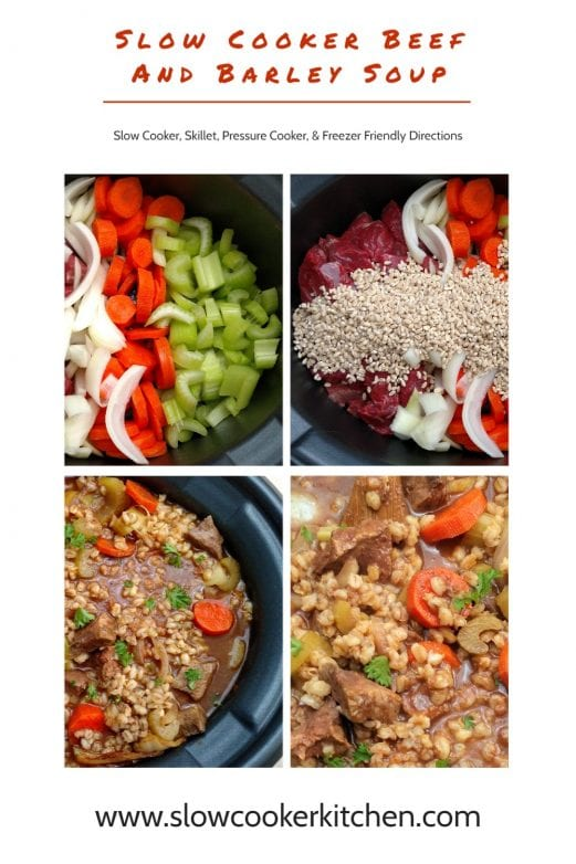 Super easy, quick and tasty beef barley stew recipe! With slow cooker, skillet, pressure cooker, & freeze ahead directions!