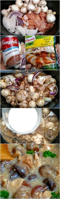 Crockpot French Onion Chicken and Mushrooms