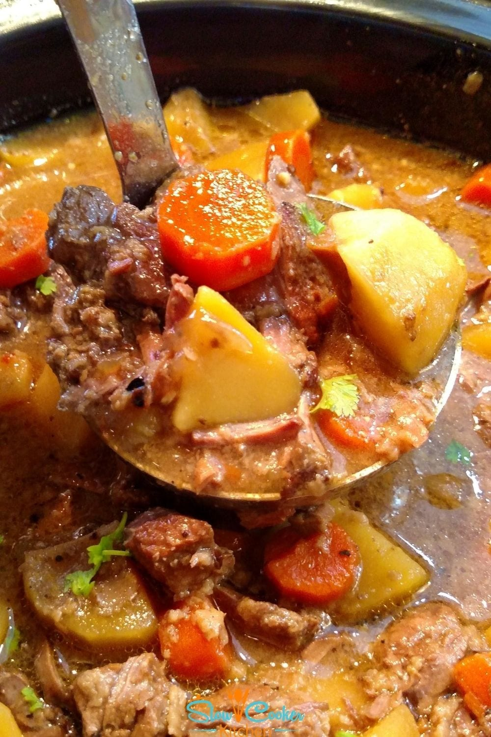 making beef stew in a slow cooker