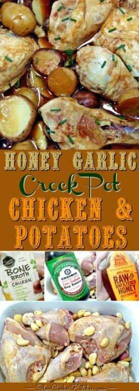 Honey Garlic Crock Pot Chicken Potatoes
