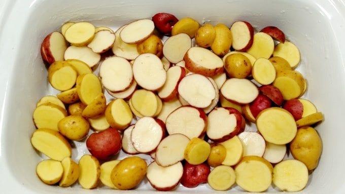honey garlic chicken and potatoes prep