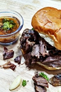 4-Ingredient Crock Pot Shredded Beef Au Jus