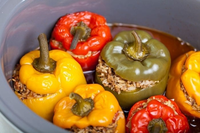slow cooker stuffed peppers complete