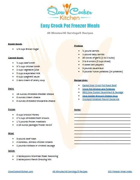 Grocery List for Easy Crock Pot Freezer Meals Printable