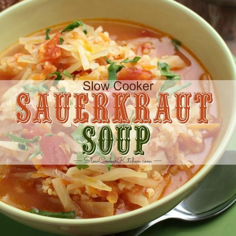 Crock Pot Kapusnyak is a Polish Sauerkraut Soup made with fermented sauerkraut