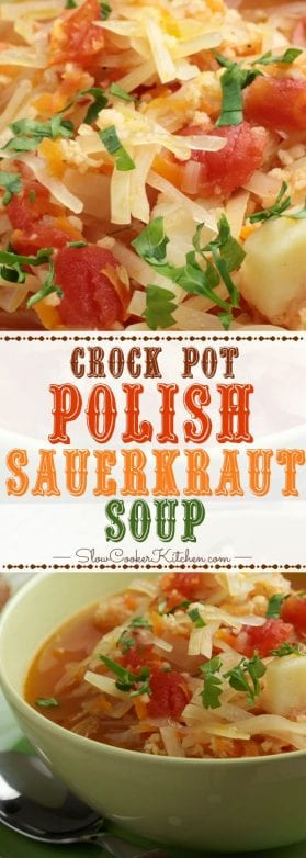 Slow Cooker Polish Sauerkraut Soup is a version of Polish Kapusnyak and made with fermented sauerkraut