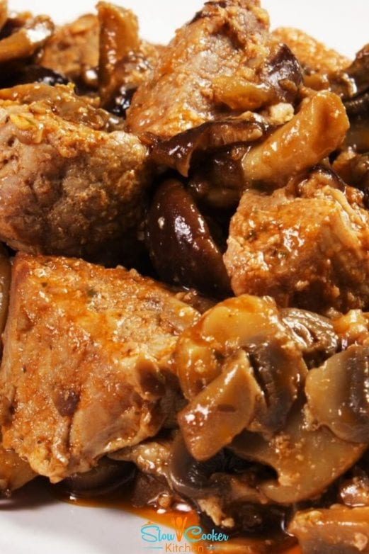 Simple and tasty, amazingly easy beef and mushrooms slow cooker! With slow cooker, skillet, pressure cooker, & freezer friendly directions!