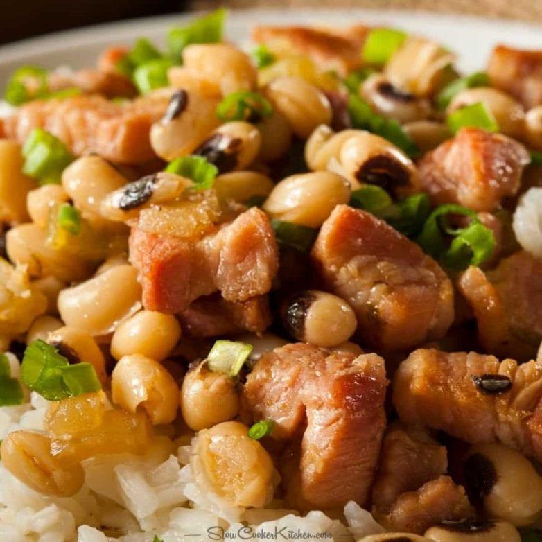 Slow Cooker Hoppin John Black-Eyed Peas and Ham Recipe