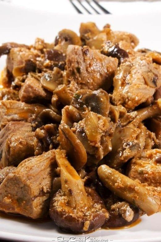 Slow Cooker Beef Bacon Portabella Recipe