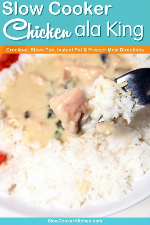 5-Ingredient, amazingly easy slow cooker chicken ala king! With slow cooker, stovetop, pressure cooker, & freezer friendly directions!