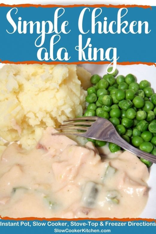 Cheap and easy, quick and tasty chicken ala king & rice! With slow cooker, skillet, pressure cooker, & freezer friendly directions!