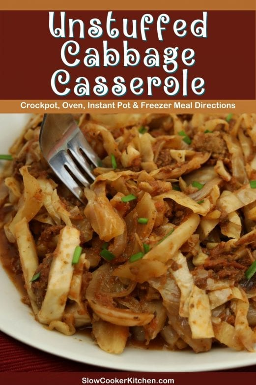 Quick and simple, super tasty baked cabbage casserole! With crockpot, oven-baked, pressure cooker, & freeze ahead directions!