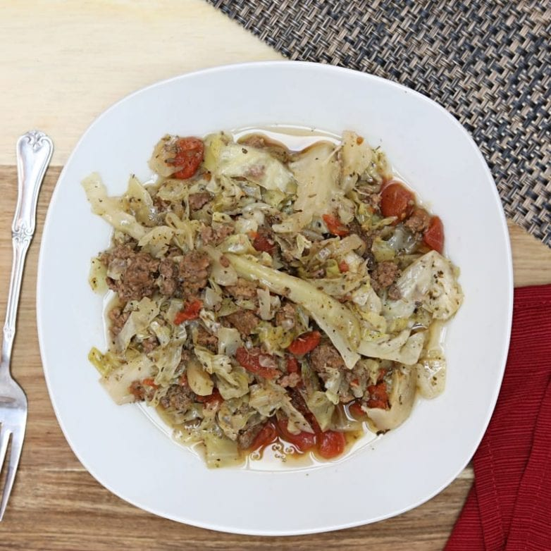 unstuffed cabbage rolls casserole made with diced tomatoes