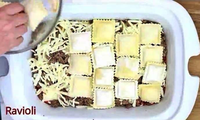 Step 5 for ravioli lasagna in your crock pot is frozen ravioli layer #2