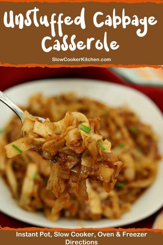 Quick and easy, super tasty beef and cabbage casserole! With slow cooker, oven-baked, pressure cooker, & freezer meal directions!