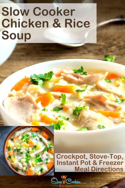 "Amazingly easy, kid friendly instant pot chicken and wild rice soup! With slow cooker, stovetop, pressure cooker, & freeze ahead directions! I hope this recipe helps you remove some stress about ""whats for dinner"". Enjoy! 