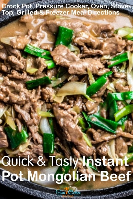 Super easy, amazingly tasty mongolian beef crockpot recipe! With slow cooker, oven-baked, stovetop, pressure cooker, & freezer friendly directions!