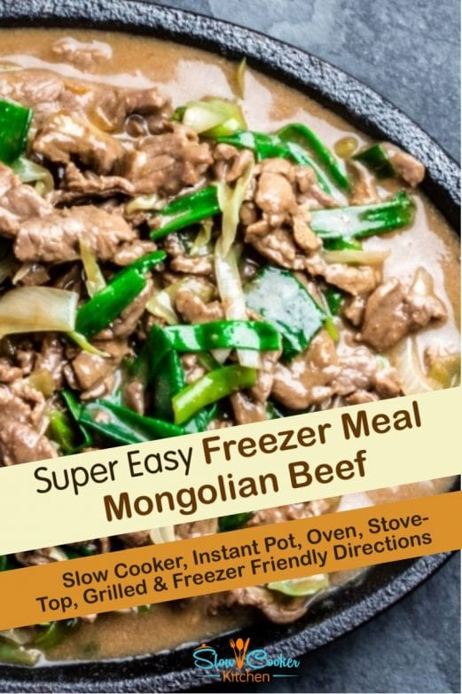 Quick and tasty, cheap and easy mongolian beef crock pot recipe! With crockpot, oven-baked, skillet, pressure cooker, & freezer friendly directions!