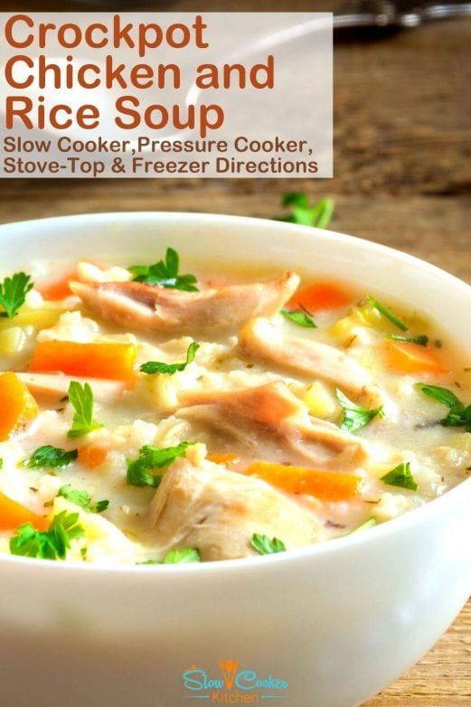 Deliciously easy, kid approved chicken and rice soup crockpot recipe! With slow cooker, stovetop, instant pot, & freezer meal directions! I hope this recipe helps you feed & please the family. Enjoy! | Slow Cooker Kitchen