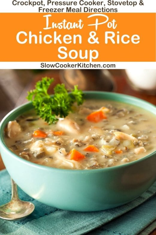 Super easy, deliciously tasty chicken & rice soup crock pot recipe! With slow cooker, stovetop, pressure cooker, & freezer friendly directions! I hope this recipe helps you feed your brood & brings smiles all around. Enjoy! | Slow Cooker Kitchen