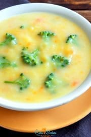 Cheap and tasty, quick and easy broccoli cheese soup crock pot! With crockpot, stove-top, pressure cooker, & freezer meal directions!