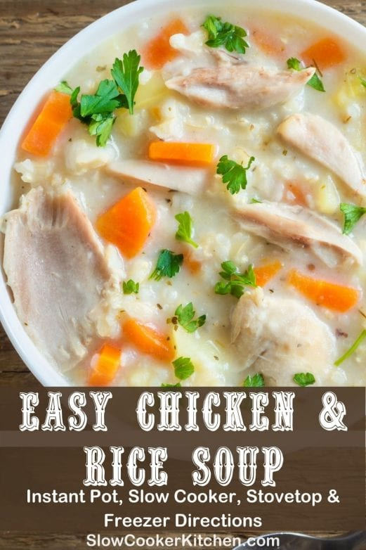 Deliciously simple, cheap and easy chicken and rice soup crock pot recipe! With slow cooker, stovetop, pressure cooker, & freezer friendly directions! I hope this recipe helps you for a quick, budget-friendly dinner idea. Enjoy! | SlowCookerKitchen.com