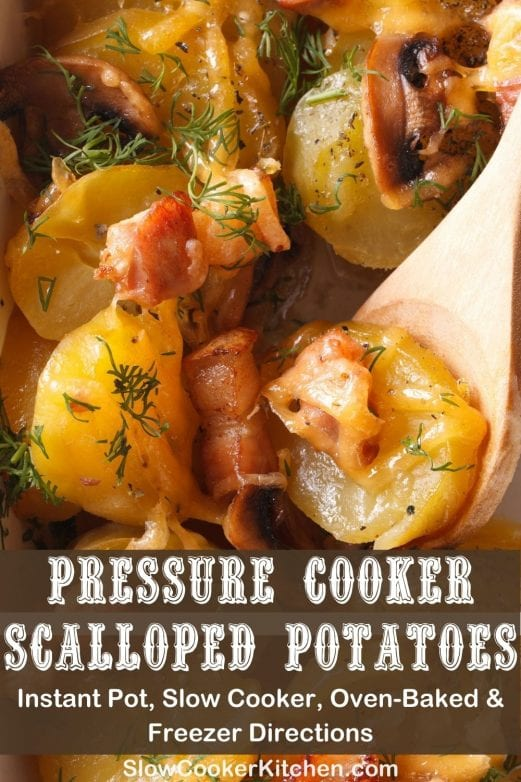 Freezer friendly, quick and simple ham and scalloped potatoes crock pot! With crockpot, oven-baked, pressure cooker, & freezer friendly directions!